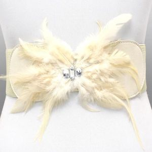 Feather Detail Elastic Fashion Belt Cream Color